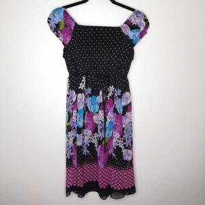 Disorderly Kids Floral Empire Sheer Overlay Dress